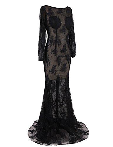 Dressystar Sirène/trompette,Robe de soirée longue,Manches Longues,sexy,ajourée,en dentelle Noir