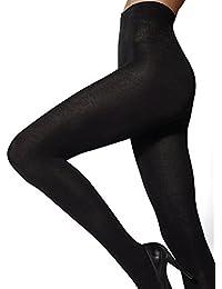 Marilyn blickdichte hochgeschnittende Baumwoll-Stumpfhose mit super warmer Wolle, 140 Denier