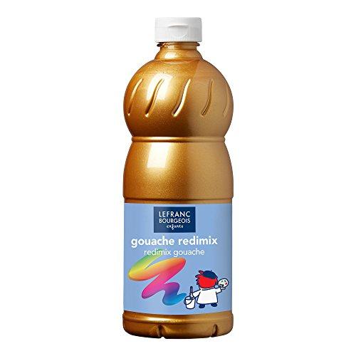 Lefranc & Bourgeois 188364 flüssig Tempera Redimix Kinderfarbe, gebrauchsfertige Tempera - Gouachefarbe, 1000ml Flasche - Gold