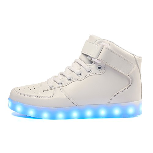 Voovix Kinder USB Aufladen Led Schuhe Licht Blinkt High-top Sneaker Schuhe für Jungen und Mädchen Weiß