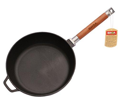 Tiefe Pfanne aus Gusseisen zum gesunden Kochen, 24, 26 oder 28 cm groß, entfernbarer Griff aus Holz, für Induktionsherde geeignet, Eisenguss, schwarz, 24 cm
