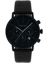 Gigandet Quarz Herren-Armbanduhr Minimalism Chronograph Uhr Datum Analog Lederarmband Schwarz G32-004