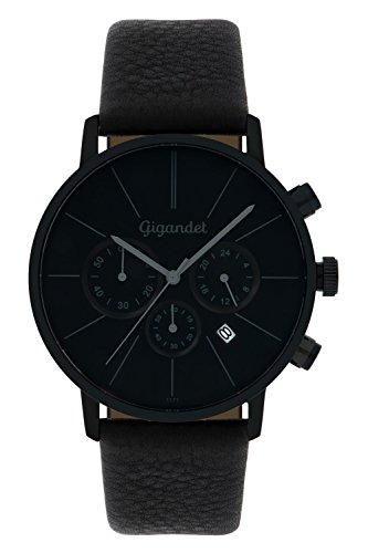 Gigandet G32–004–Montre pour hommes, bracelet en cuir couleur noir
