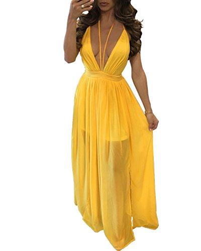 BIUBIU Damen Sommer Maxi Strandkleid V-Ausschnitt Chiffon Kleid Gelb