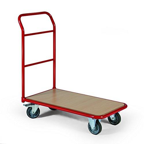 Stabilux Magazinwagen, Traglast 250 kg, Ladefläche 850x500 mm, 1 Schiebebügel, Rot, RAL 3003