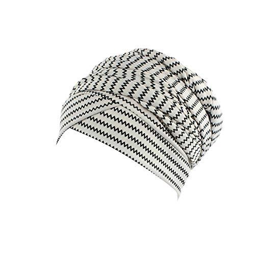 Rosennie Kopftuch Damen Turban Drucken Kopftuch Wrap Frauen Baumwolle Plissiert Turban Kopf Schals Elastischer Kopfbedeckungen Bandana Band Weich Indien Moslemischer Chemo Turban Mütze -