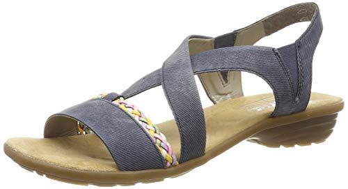 Rieker V3451-15, Sandali a Punta Chiusa Donna, Blu (Jeans/Rainbow 15), 40 EU