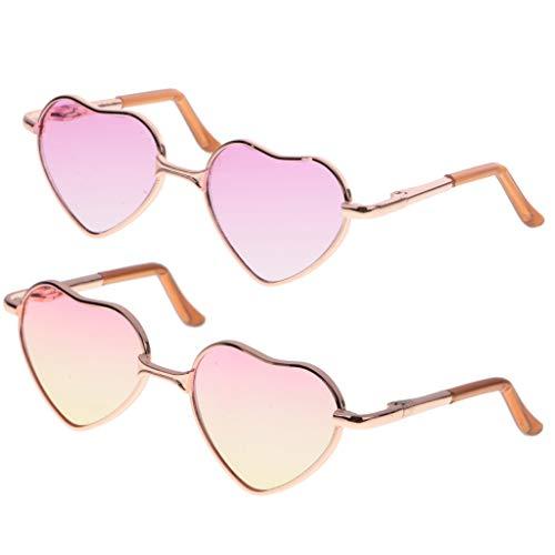 FLAMEER 2 Paar Miniatur Brillen Sonnenbrille Gläser mit Herz-Form Gestell für 1/6 Mädchen Puppen Bekleidung Zubehör