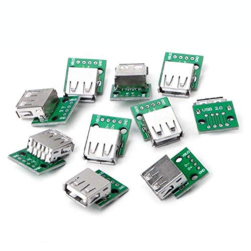 DollaTek 10PCS La Placa Hembra USB 2.0 Dip 4p Placa