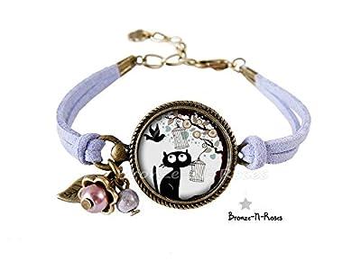 Bracelet Chat noir et l'oiseau bijou cabochon mauve fille bronze-n-roses cadeau