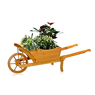 Melko® Pflanzschubkarre / Blumenkarre aus Holz, 129 × 45 × 43 cm, braun, Schubkarre Pflankarre Blumenkübel