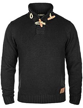 SOLID Piroy Herren Strickpullover mit Stehkragen aus hochwertiger Baumwoll-Mischung