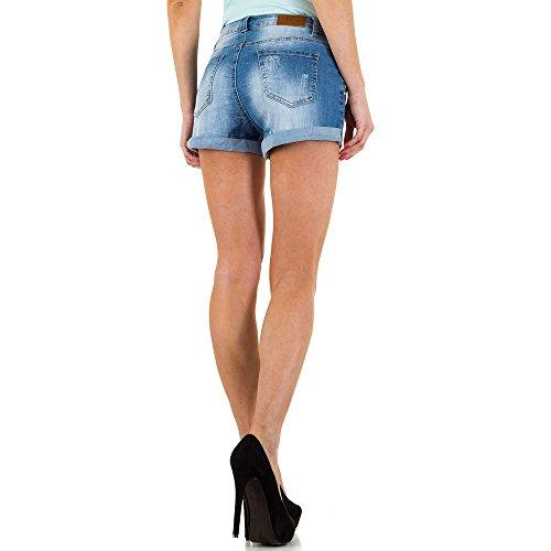 Destroyed Jeans Hot Pants Shorts Für Damen bei Ital-Design Blau