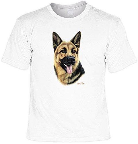 Hunde Shirt/ T-Shirt mit Dog Aufdruck: German Shepherd - tolles Tier-Motiv für Hundefreunde Weiß