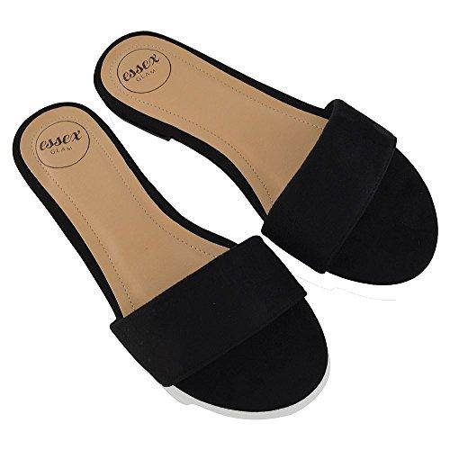 ESSEX GLAM Donna Casuale Scivolare su Sintetico Slider Scarpa Sandalo Nero Finto Scamosciato