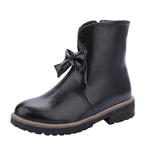 Mee Shoes Damen Niedrig runde mit Schleife kurzschaft Stiefel Schwarz