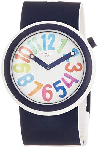 Swatch Herren Analog Quarz Uhr mit Silikon Armband PNW107