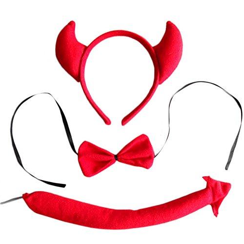 Cheerlife Tierische Cosplay Ohren Stirnband+Krawatte+Schwanz Tierset Weihnachten Halloween Karneval Kostüm Zubehör (Red Bull)