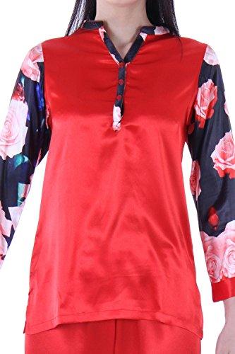 Chemise en satin Pyjamas Pyjama manches longues femme Avec Pyjamas 2 PCS- Rouge Rouge