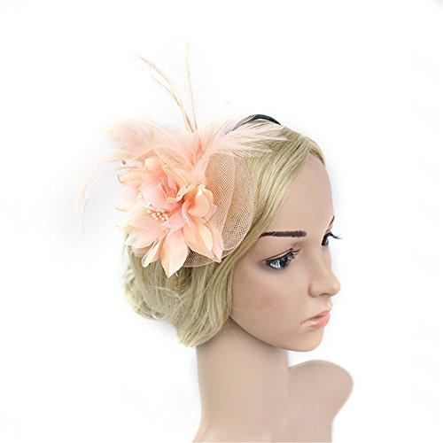 LJPzhpPA Hut Feder Mesh Marine Feather Hairhead Flower Fascinator Hochzeit Damen Tag Spiel Royal Ascot Hut (Farbe : Rosa)