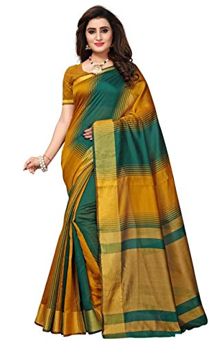 ff443127875eb Fabwomen Silk Saree with Blouse Piece (Fab1841 Green Free Size) ...