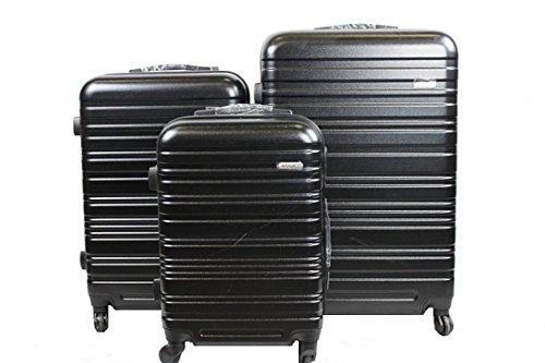 Dublin 3 set da 3 pezzi valige trolly in ABS e policarbonato con 4 ruote girevoli 360° gradi colori vari (rosso) (Nero)