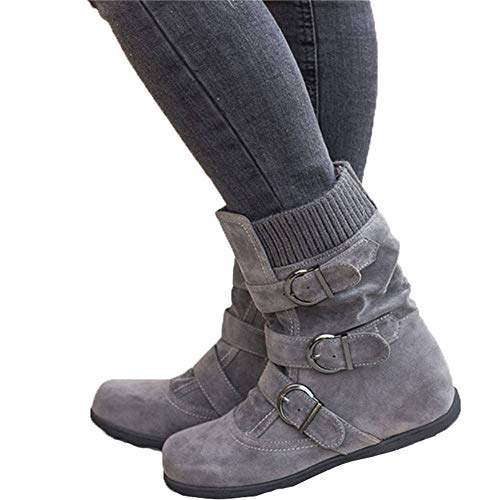 JOYTO Halbstiefel Damen Gefüttert Winter Flache Fell Leder Schnallen Weiter Halbschaft Stiefel Wildleder Pelz Winterstiefel Warm Ankle Boots Grau 40