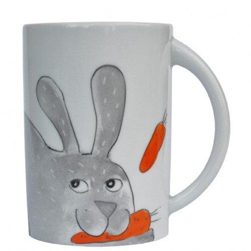 Helina Tilk Lapin Gris Clair Mug Porcelaine Peint à la main
