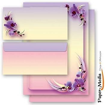 Set complet de 20 pièces TOURNESOLS 10 feuilles de papier à lettres et 10 enveloppes DIN LONG sans fenêtre