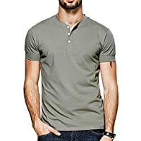 Slim Fit T Shirts for Men Army Green Mens Summer Soft V Neck Henley t-Shirt Fahion Classic Big and Tall Clothes Teen Work Fitted Casual Short Sleeve 3 Buttons Bussiness Cotton Sexy Tees Tops m