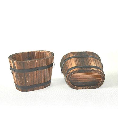 Flach-oval-design (Anqeeso Garten-Deko, Wave-Design, rund, flach, Holz, Schwarz, Oval Mouth, S)