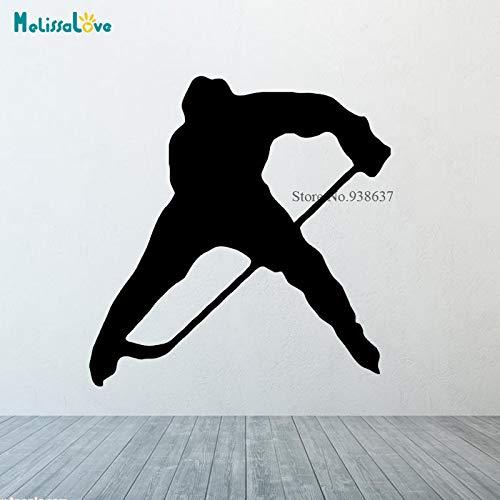 jiushizq Wandtattoo Vinyl Aufkleber Hockey Player Washer Gate Spiel Hockeyschläger Silhouette Schlafzimmer Dekoration C 57x57cm