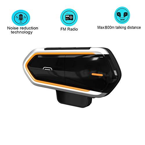 Xinfang Casco Moto Auricolare Bluetooth Per Interfono FM Full Duplex Auricolare Bluetooth Auricolare Bluetooth Supporto A2DP E AVRCP, Distanza Intercom 800-1000 M