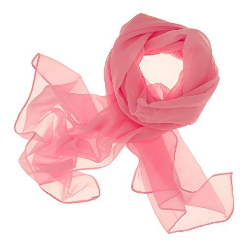 Dolce Abbraccio Damen Schal Stola Halstuch Tuch aus Chiffon für Frühling Sommer Ganzjährig Rosa