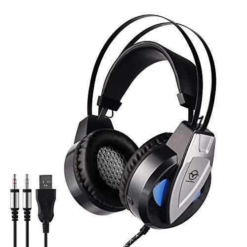 Großes Gaming-Headset, Stereo-Headset mit Geräuschunterdrückung, Gaming-Kopfhörer mit Mikrofon, Komfort-Memory-Ohrenschützer, Lautstärkeregler