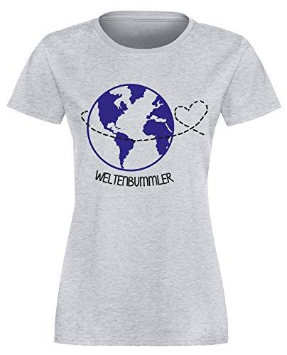 Weltenbummler - Perfekt für Ihren Urlaub - Damen Rundhals T-Shirt Grau/Schwarz-blau