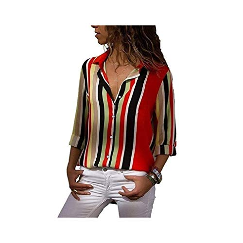 Chiffon Blouse Women Long Sleeve Striped Turn Down Collar Office Shirt Casual Tops -
