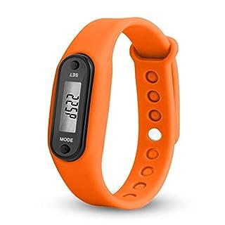 VIMOER 1Intelligente Wasserdicht Fitness Uhren Silica Gel Uhren Schrittzähler mit Digital LCD Activity Tracker Armbanduhr für Kinder Erwachsene, Orange, Approx. 4.5 x 3.4 x 2.2cm