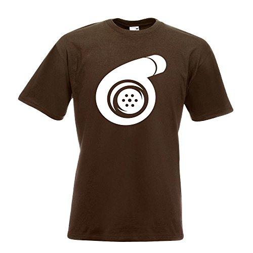 KIWISTAR - Turbolader T-Shirt in 15 verschiedenen Farben - Herren Funshirt bedruckt Design Sprüche Spruch Motive Oberteil Baumwolle Print Größe S M L XL XXL Chocolate