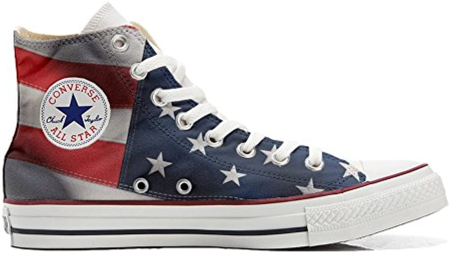 mys Converse All Star Hi Customized Personalisiert Schuhe Unisex (Gedruckte Schuhe) American Flag (USA)