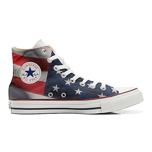 Converse All Star Hi Customized personalisiert Schuhe (gedruckte Schuhe) American Flag (USA) TG42
