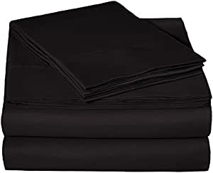 AmazonBasics Microfiber Sheet Set - (Includes 1 bedsheet, 1 Fitted Sheet with Elastic, 2 Pillow Covers) King, Black