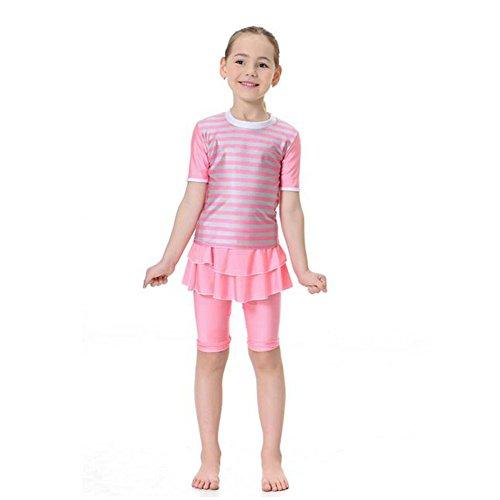 Muslim Mädchen Sommer Badeanzug 2-Stück Bademode Malaysia Araber Middle East Bescheiden Bathing Suit Burkini Beachwear Für Kinder (Farbe:Rosa,Größe:XL) (Mädchen 2 Stück Bademode)