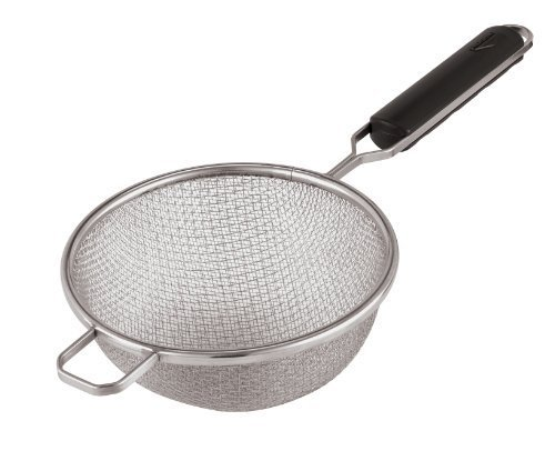 Paderno World Cuisine 9-Inch Double Mesh Stainless-steel Strainer with ABS Handle by Paderno World Cuisine Paderno World Cuisine Mesh