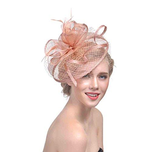 LIAN Europäische und amerikanische Brides Hat Feather Mesh Garn Haarschmuck Partying Hüte Kopfschmuck (Farbe : Champagner)