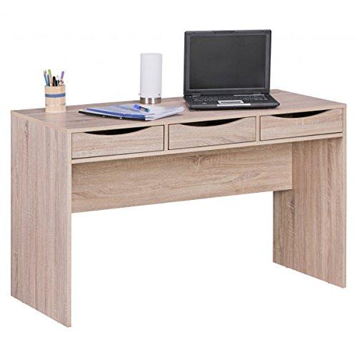 3 Schublade Eiche Schreibtisch (BuyDream Design Schreibtisch 120 cm Bürotisch Sonoma Eiche modern Jugendschreibtisch mit 3 Schubladen und reichlich Stauraum platzsparend)