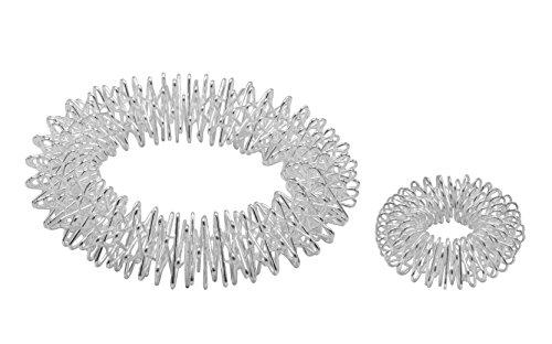 Power-Ring-Set - Armband (Silber) + Ring (Silber klein) / Akupressurring / Massagering / Massagearmband / Armmassagering Silber