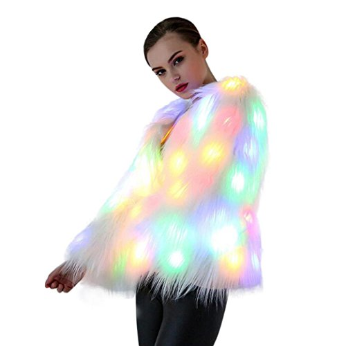 HKFV LED Light Up Pelz Ladies Kostüme Shining Winter Mantel Faux Pelz Pelz Mäntel Westen Weihnachtspelz-Winter-Mantel-Jacke Frauen-Partei-Mantel dekorativ (M) - Faux Fur Trim Jacke
