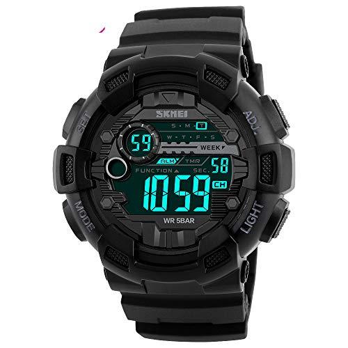 Orologio digitale sportivo da uomo, impermeabile fino a 30 m, militare, con sveglia/timer, orologio da polso militare con retroilluminazione a LED, per uomo da corsa