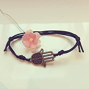 Hamsa Hand Armband in Schwarz Bronze Größenverstellbar, Hand der Fatima / beschützende Hand / vintage / ethno...